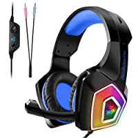 Tenswall Gaming Headset, PS4 Gaming Headset for Xbox One, PC, Switch, Tablet,Nintendo Laptop, Mobile, with Mic LED OverEar Sound Noise Cancelling & Volume Control-Blue