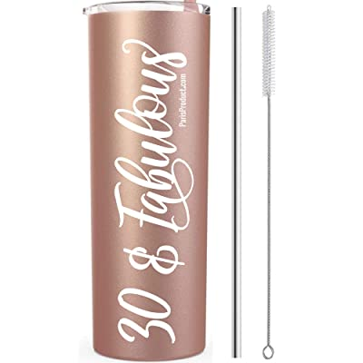 30 & Fabulous 20 Oz Stainless Steel Tumbler with straw| 30th Birthday Decorations| 30th Birthday Gifts for Women| 30th Birthday Gifts for Men| Wine Tumbler Stainless Steel Tumbler with Straw Insulated: Kitchen & Dining