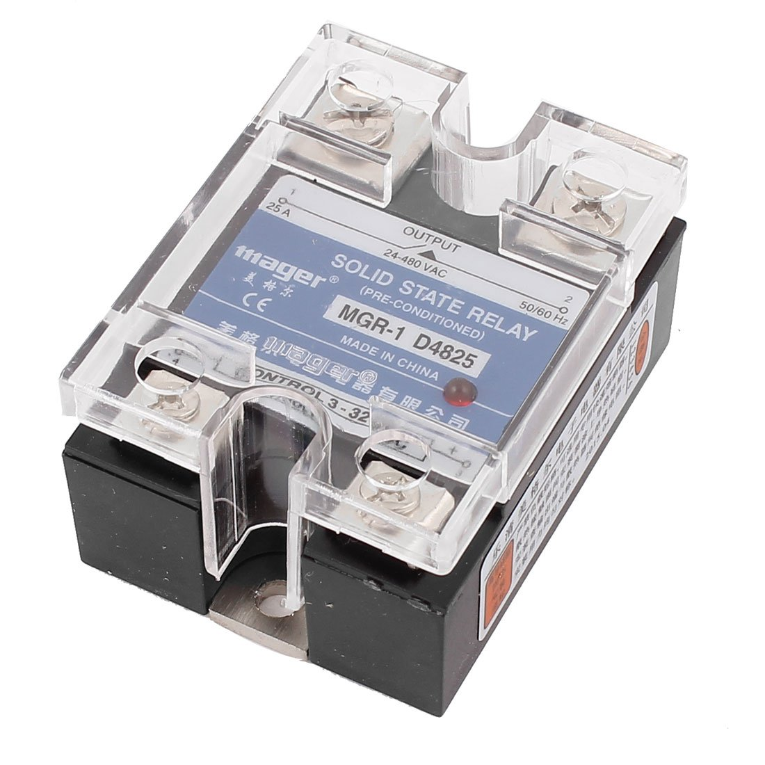 Sourcingmap Mgr 1 D4825 Single Phase Solid State Relay Ssr 25a Dc 3 For 32v Ac 24 480v Temperature Con Diy Tools
