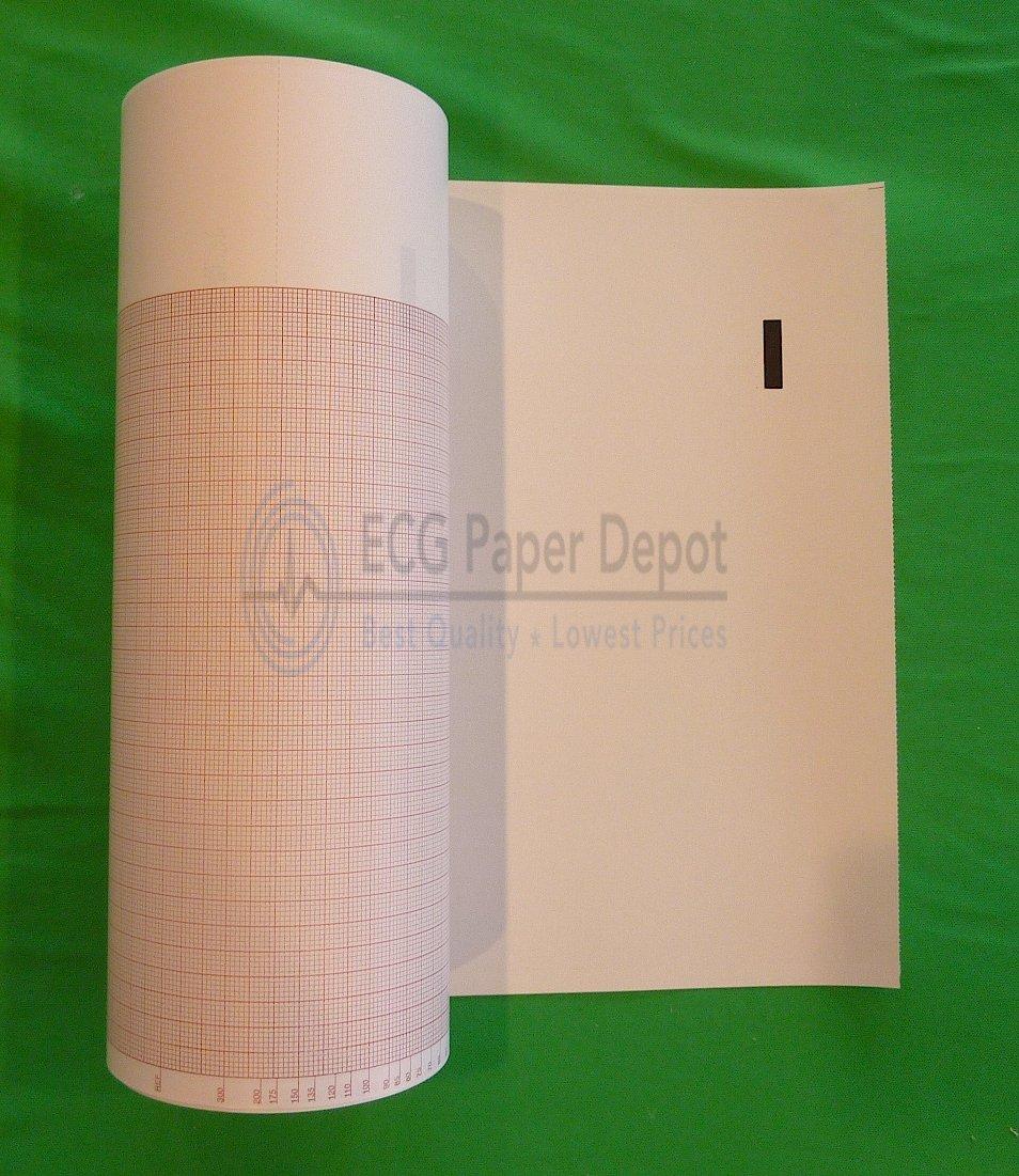 Mortara Compatible 9100-013-50 Medical Cardiology Recording Charts, 6 Rolls Per Case, Grid Color Red, Size 216mm x 200'