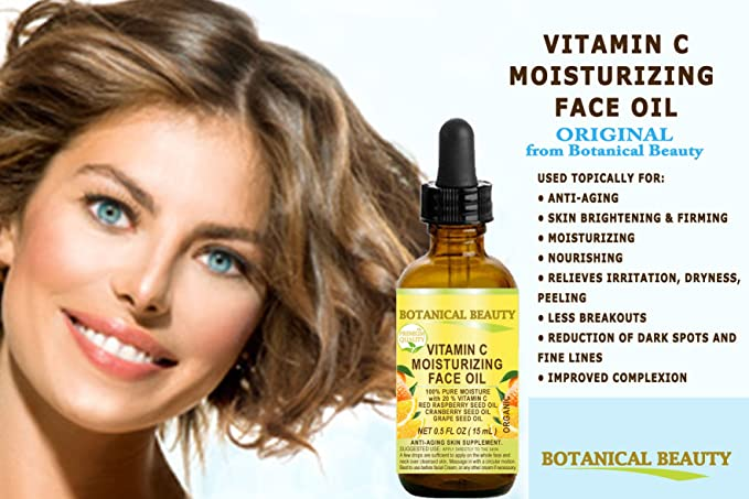 VITAMIN C Hidratante para el rostro. Aceite de semilla de uva de aceite de semilla de arándano rojo con 20% de vitamina C y frambuesa.