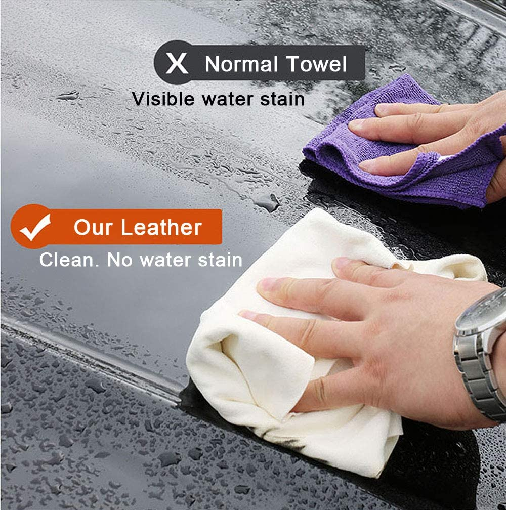 Drying Towel Natural Shammy Towel Real Leather Washing Cloth Cleaning Towel Car Wipes Airlab Chamois Cloth for Car 35 x 23.6