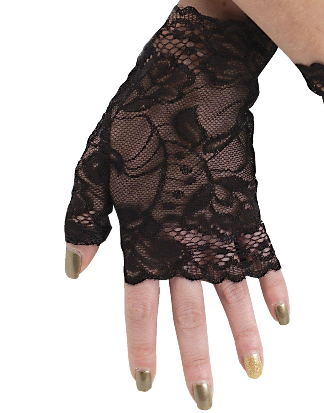 Fun World Sexy Lace Gloves 1980's Gothic Steampunk Womens, Black, Standard 4