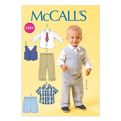 mccall pattern company m6873 infants vest shirt shorts pants tie and