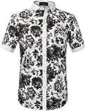 SSLR Men's Floral Button Down Short Sleeve Hawaiian Tropical Shirt