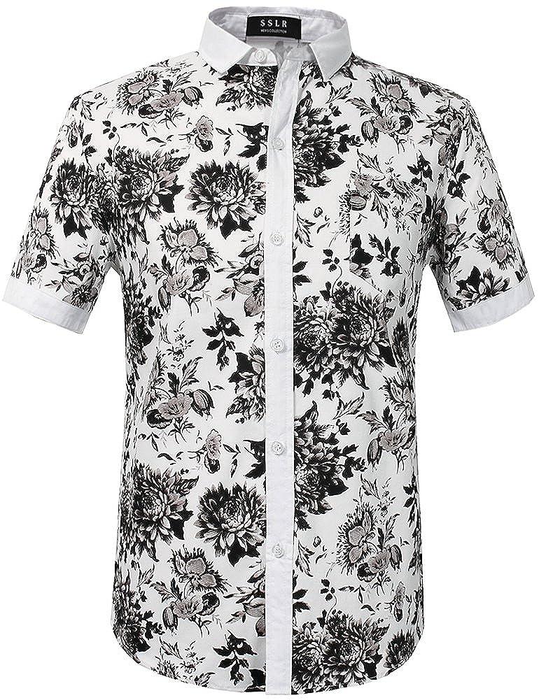 06b3253c2191 SSLR Men s Floral Button Down Short Sleeve Hawaiian Tropical Shirt   Amazon.in  Clothing   Accessories