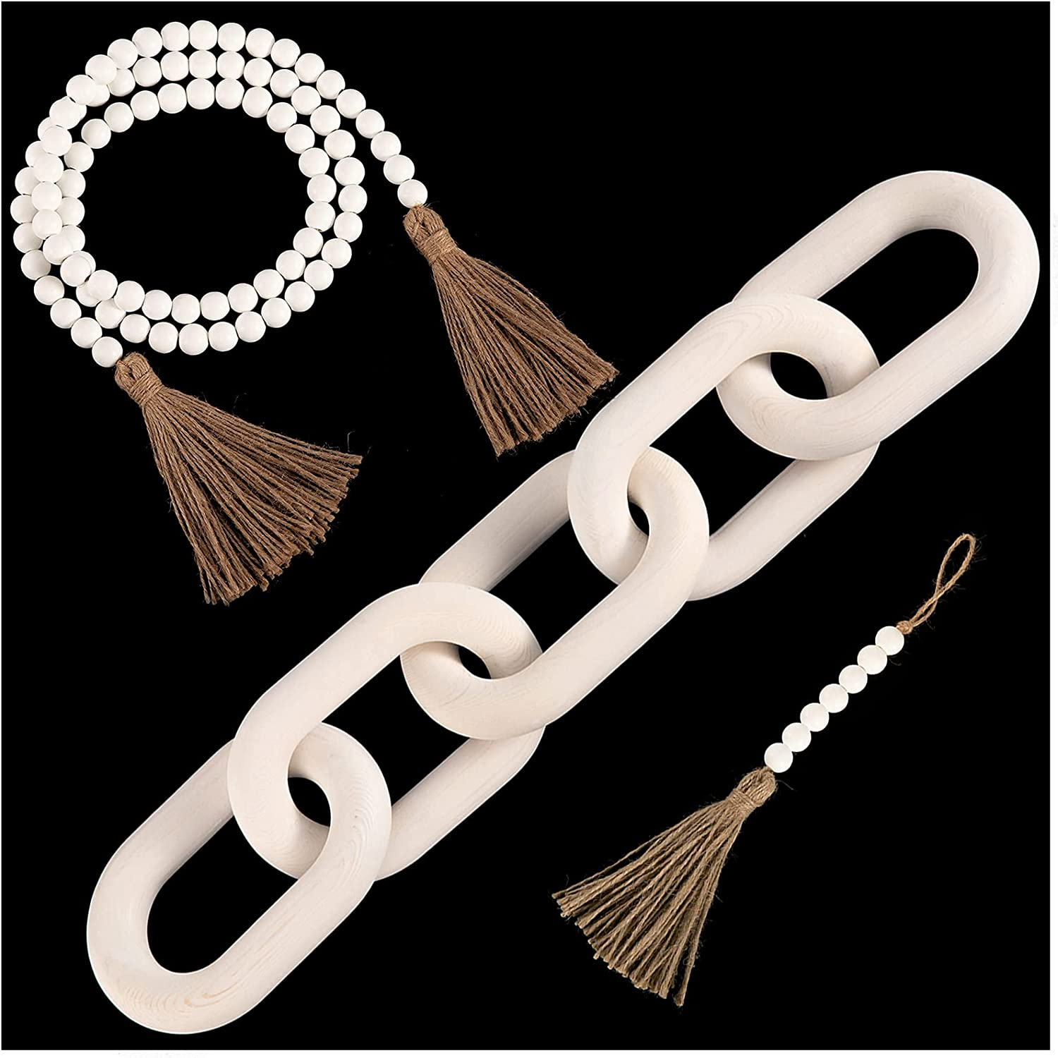 3 Pack Decorative Wooden Link Chain Bead Garland Set- Handmade 5-Link Pinewood Chain+ 2pcs Hand Carved Bead Garland with Tassel Modern Aesthetic Hanging Ornaments for Boho Farmhouse Home Decor(White)
