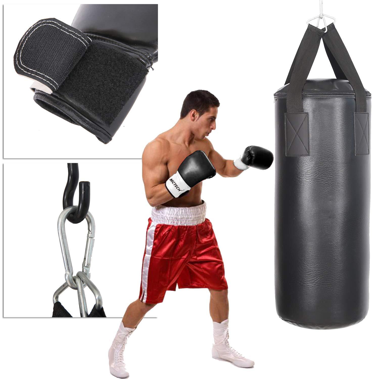 Boxbandagen und Tasche Ideal f/ür Boxen und Kickbox Training AUFUN Boxsack Set Gef/üllt 10KG f/ür Erwachsene und Kinder inkl Boxhandschuhen Schwarz