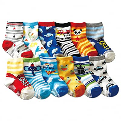 12 Pack Baby Socks Non-slip Cartoon Crew Socks For 1~3 Years Baby