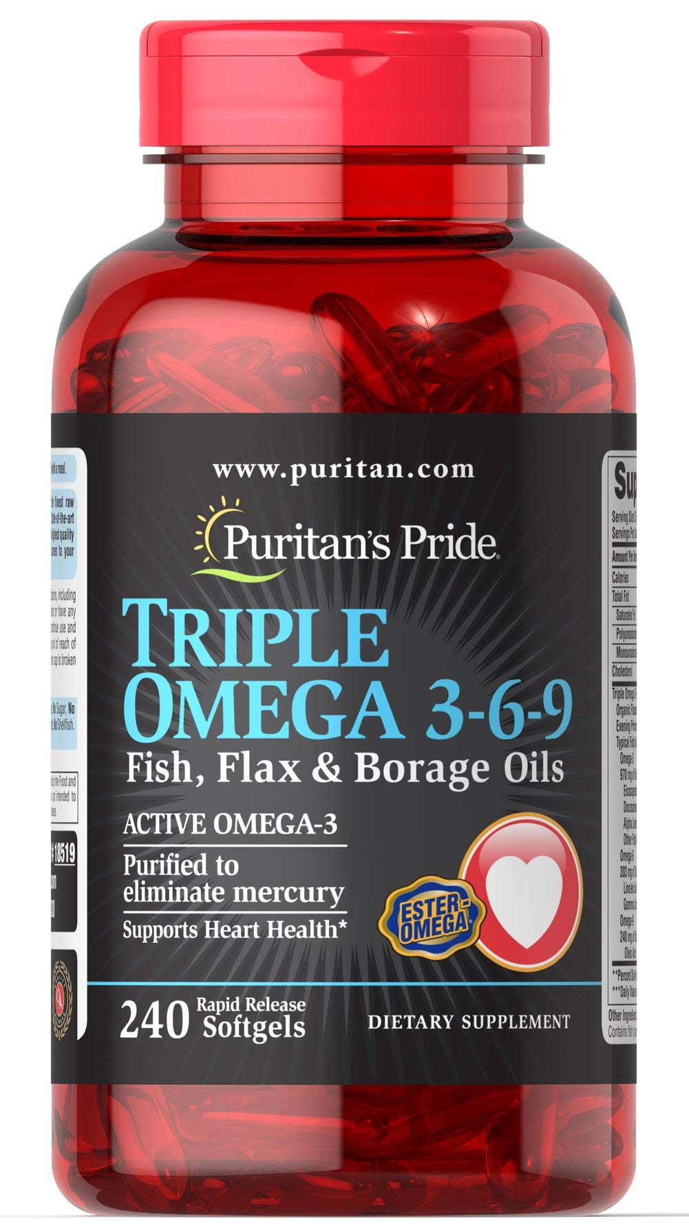 Puritans Pride Triple Omega 3-6-9 Fish, Flax & Borage Oils, 240 Count by Puritans Pride