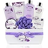 Bath Gift Set for Women - Luxurious 8 Pcs Bath Set with Jasmine Scented, Includes Bubble Bath, Shower Gel, Milk Lotion & Butter and More, Perfect Women Gifts