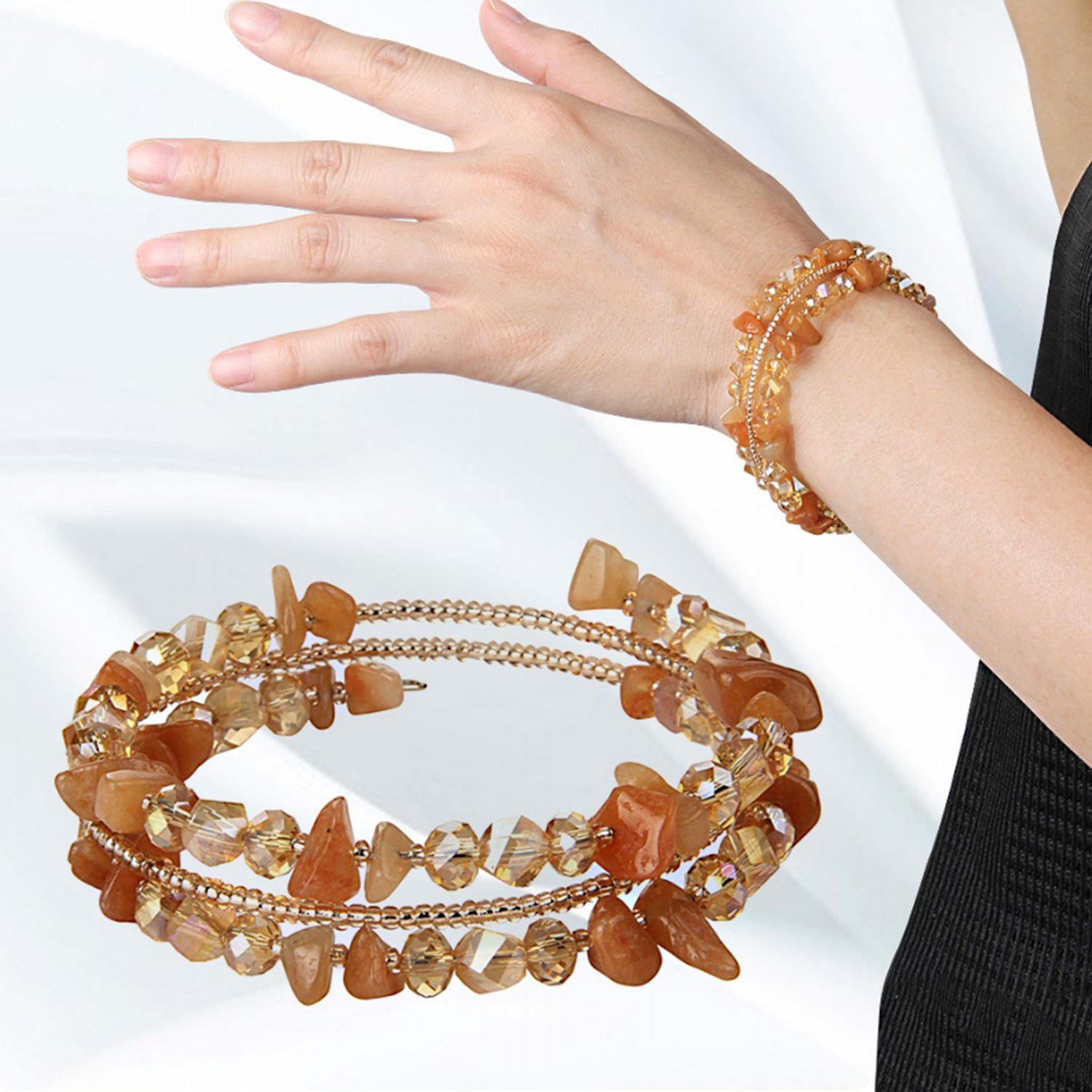 Natural Stone Crystal Bracelet for Women, Novelty Women's Charm Zirconia Bracelets Irregular Chips Beads Fashion Chains Flexible Wristband Bangle For Mothers Day Gifts, Valentine's Day - Citrine