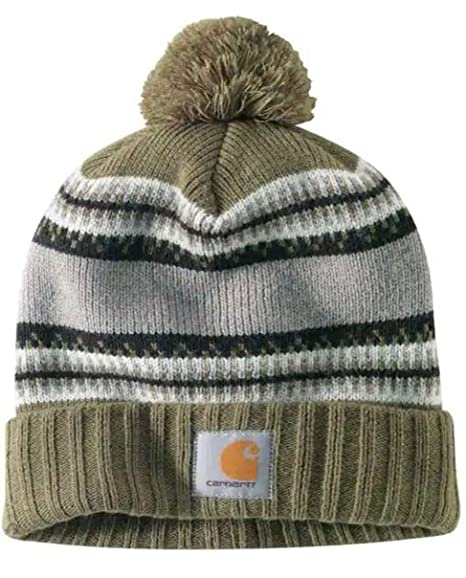 Carhartt Rexburg Hat - Army Green Rib Knit Hat Label on Front  CH103258301-One Size 89e1a1e018a4