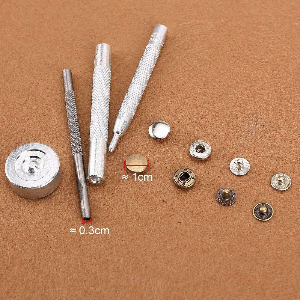 v/êtements boutons-pression 10mm 10mm 30pcs cuir Boutons pression en m/étal pour outils de couture