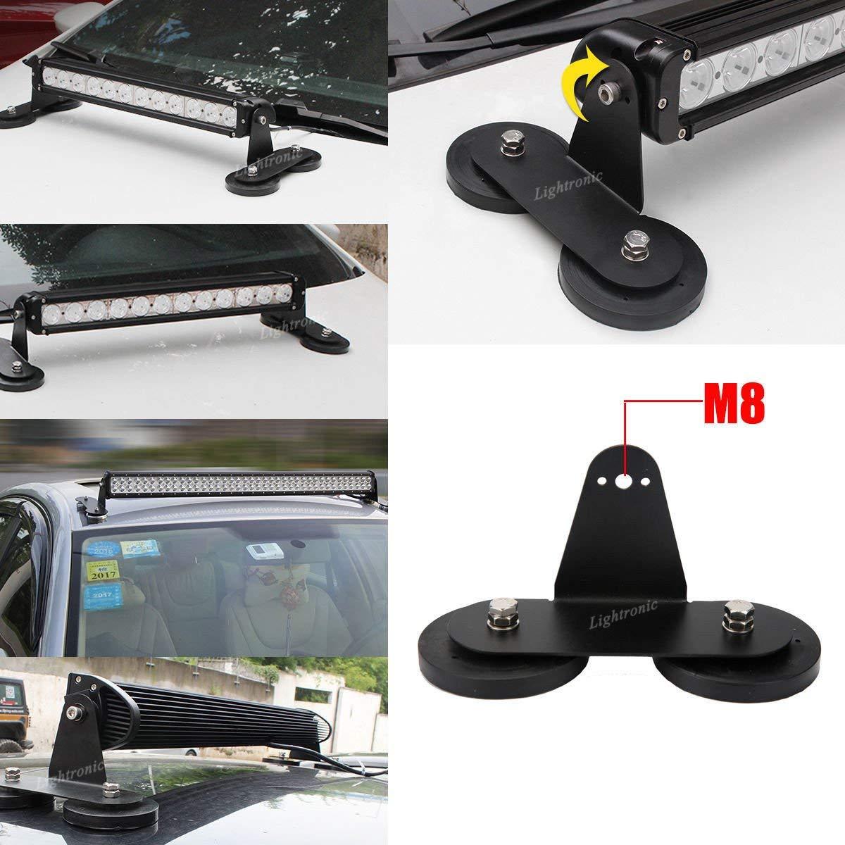 GUGUTOGO 2pcs//set Punching-free Powerful Mount Bracket Holder with Strong Magnetic Base Roof LED Light Bar for Offroad Car