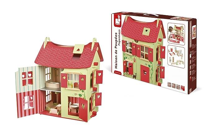 Amazon.es: Janod - Casa de muñecas de Madera Naturaleza, Rojo / Verde (J06585): Juguetes y juegos