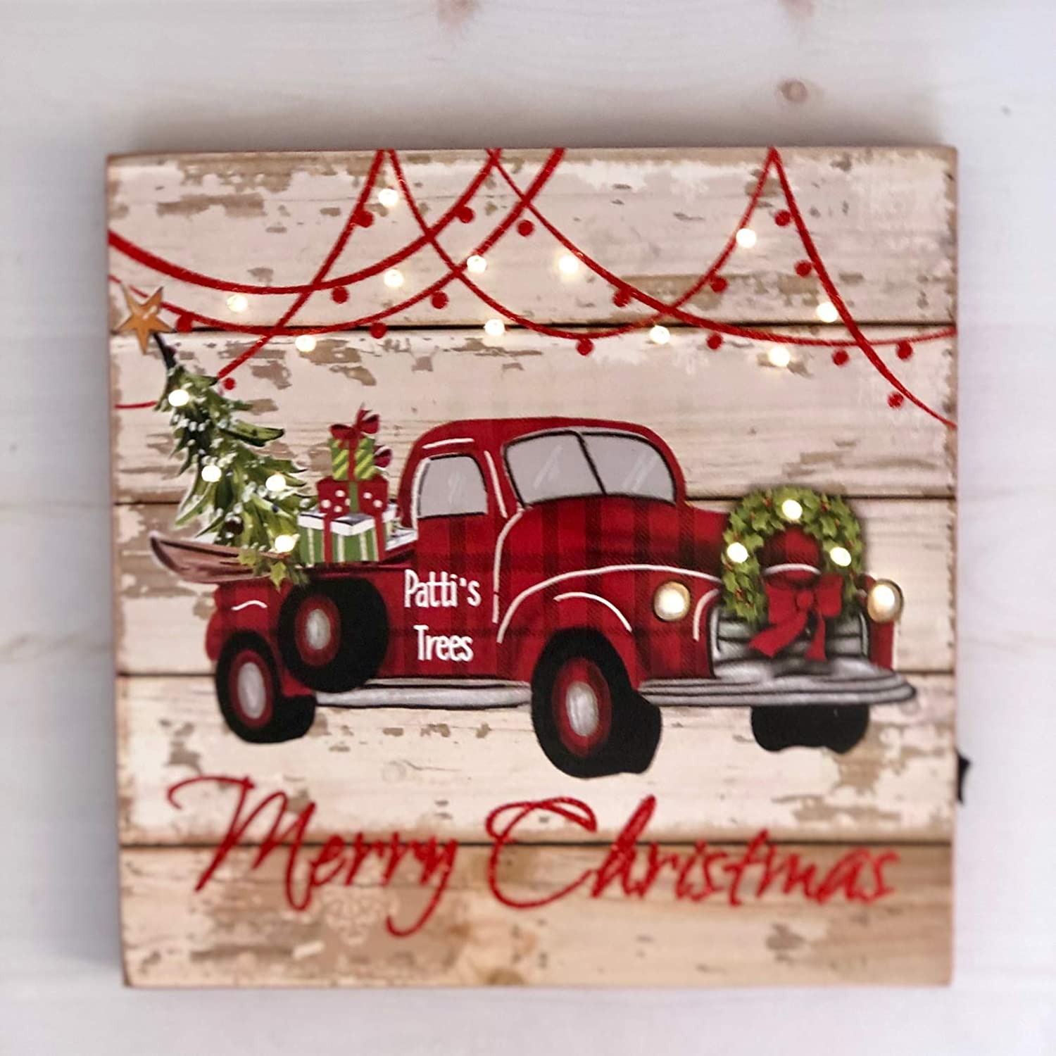 Amazon Com Bringing Home The Tree Vintage Red Truck Christmas Decor Farmhouse Sign Buffalo Check Plaid Rustic Home Decoration Handmade