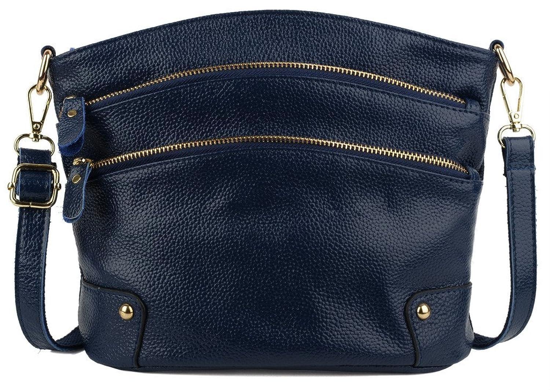 YALUXE Women's Triple Zipper Organizer Purse Leather Shoulder Bag