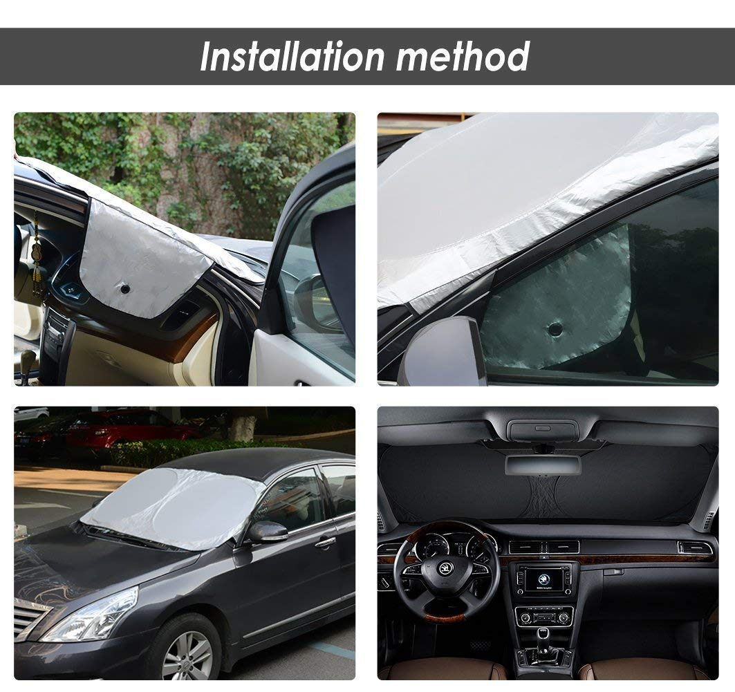 Bonus Sticker All Weather Winter Summer Auto Sun Shade for Cars Ice Removal No More Scraping Door Flaps Windproof Universal Fit 63X34 AROBA Windshield Sun Shade Windshield Snow Cover Car Sun Shade