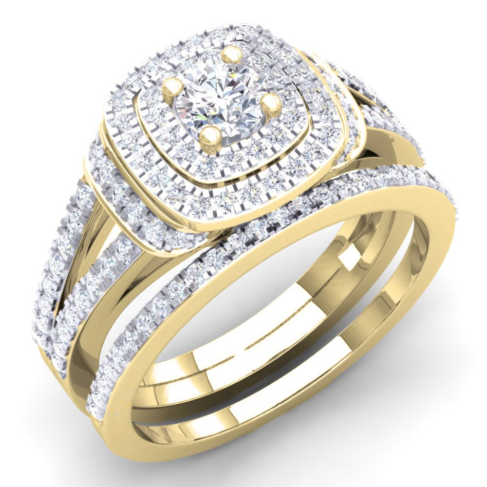 1.00 Carat (Ctw) 14K Yellow Gold Round Diamond Ladies Bridal Halo Engagement Ring Set 1 CT (Size 7.5)