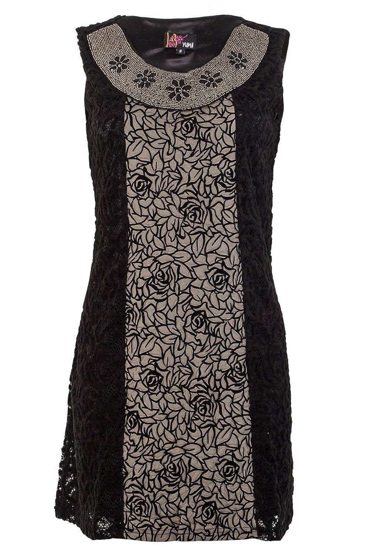Yumi Womens Black Embellished Neck Ladies Lace Floral Print Dress