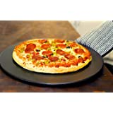 Heritage Black Ceramic Pizza Stone 15 - Baking Stones for Oven Grill & BBQ- Non Stain- with Free Pizza Cutter