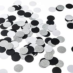 MOWO Glitter Paper Circle Dots Confetti Wedding Birthday Theme Party Table Decoration Glitter Silver, Black and White, 1.2 inch, 200pc