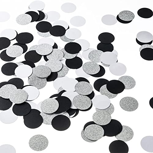 Glitter Paper Circle Dots Confetti Wedding Birthday Theme Party Table Decoration Silver Black And