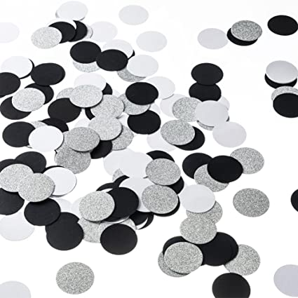 Amazon Glitter Paper Circle Dots Confetti Wedding Birthday Theme Party Table Decoration Silver Black And White 12 Inch 200pc Toys Games