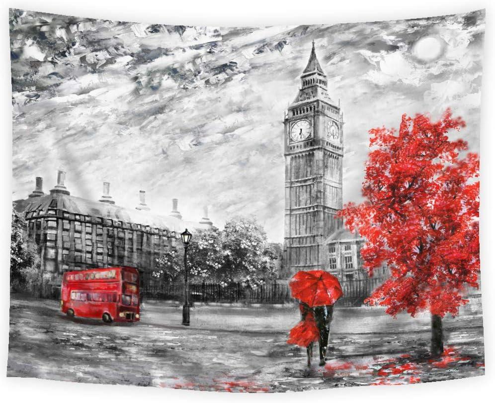 SVBright Oil Painting London Tapestry 51Hx59W Inch Big Ben Black and White England Landmark Towel Love Couple European City Red Art Wall Hanging Bedroom Living Room Dorm Decor Fabric