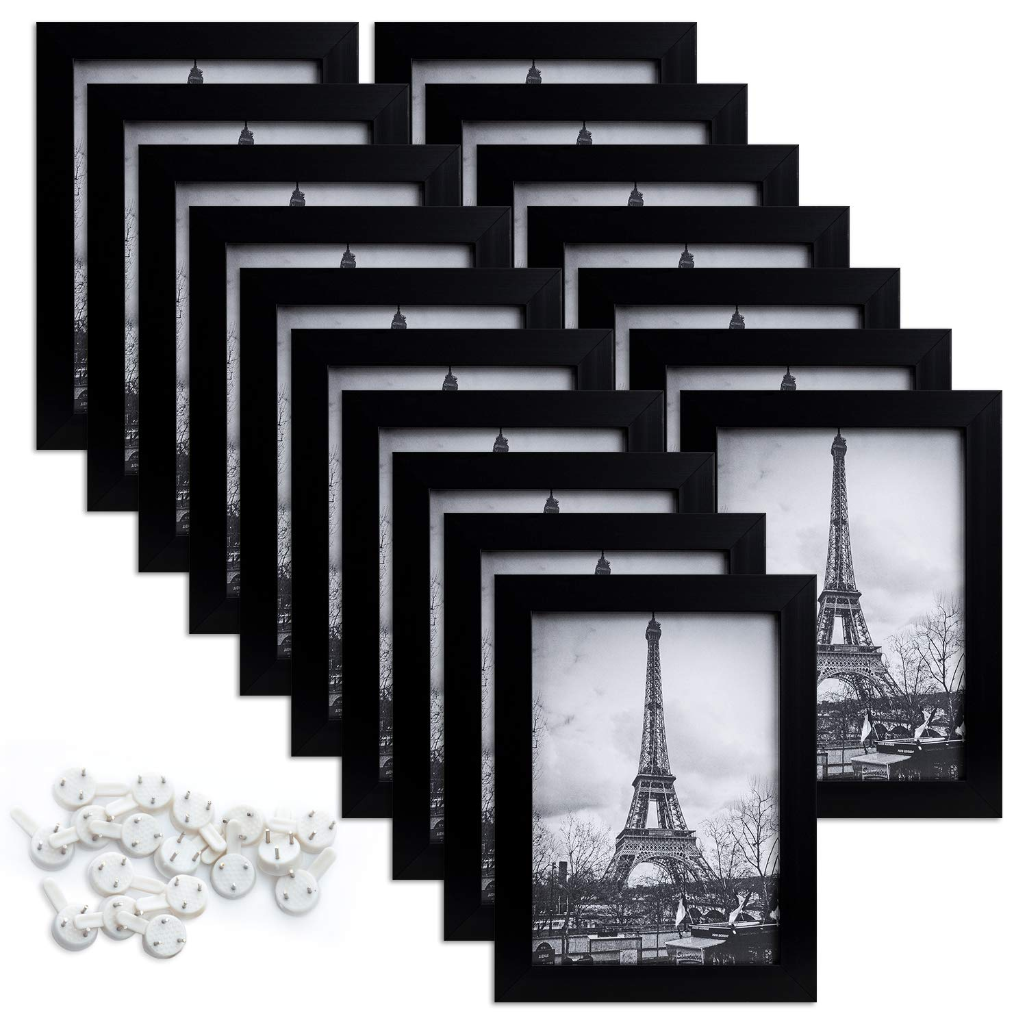 upsimples 5x7 Picture Frame Set of 17,Multi Photo Frames Collage for Wall or Tabletop Display,Black by upsimples