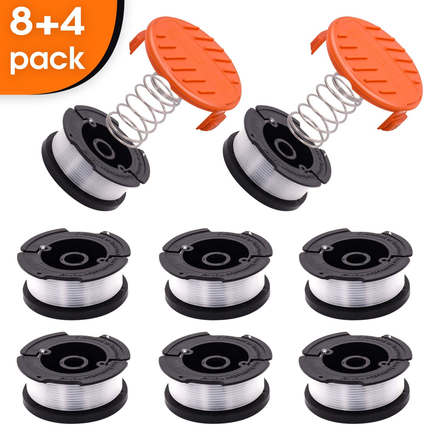 CRST String Trimmer Replacement Spool Weed Eater Cap Autofeed Trimmer String AF-100 0.065-inch 30ft for Black and Decker String Trimmers 12-Pack (8 Replacement Line Spool, 2 Trimmer Cap, 2Spring)