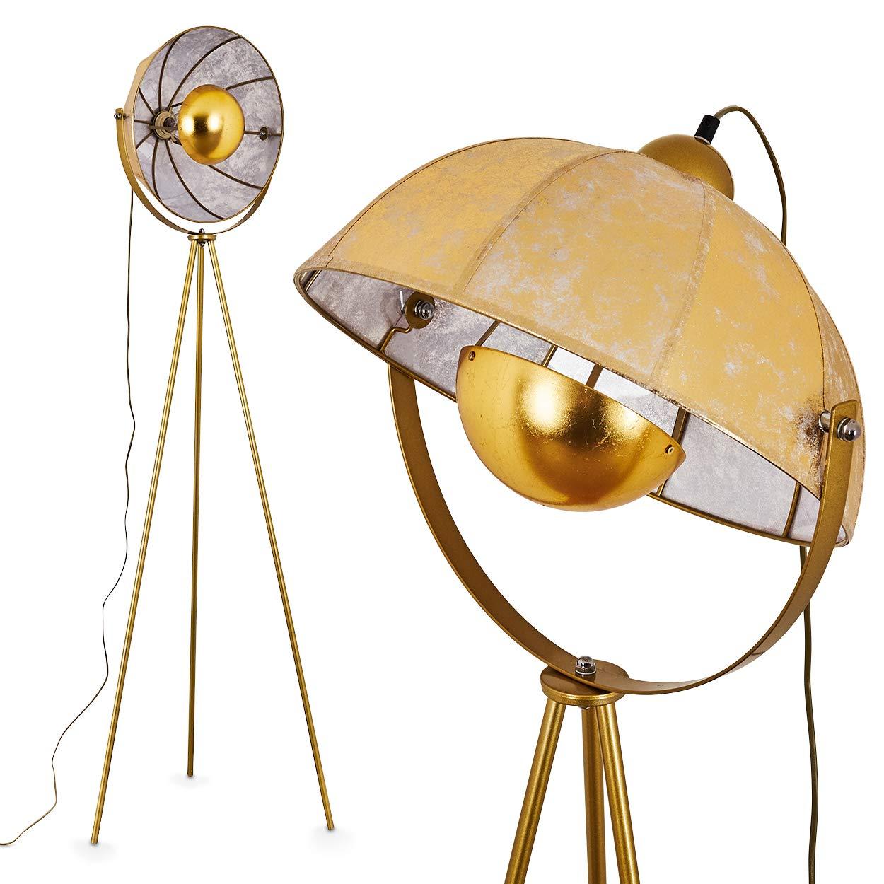 Lampada da terra Machaila in metallo di colore oro/dorato - Piantana orientabile argentata che include interruttore di accensione sul cavo - Trepiede con luce attacco 1 x E27 Hofstein