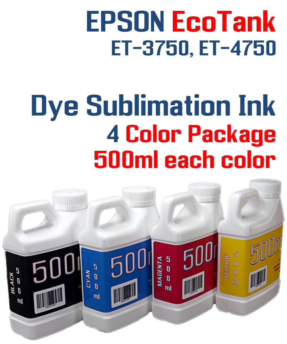 Dye Sublimation Ink 4 Multi Color 500ml bottles - EcoTank ET-3750, ET-4750 by Try The Ink