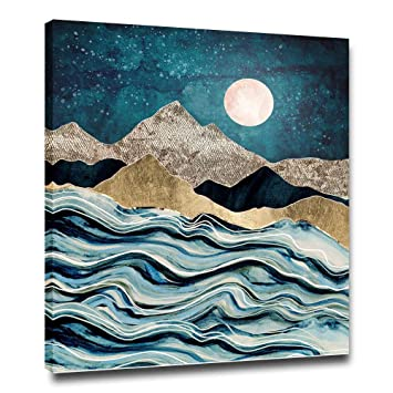 Faicai Modern Nordic Wall Art Canvas Prints Dark Teal Gold Squamous Mountain Abstract Nature View Wall Decor Home Decoration Artwork Picture For Living Room Bedroom Wooden Framed 16 X24 Amazon In Home Kitchen