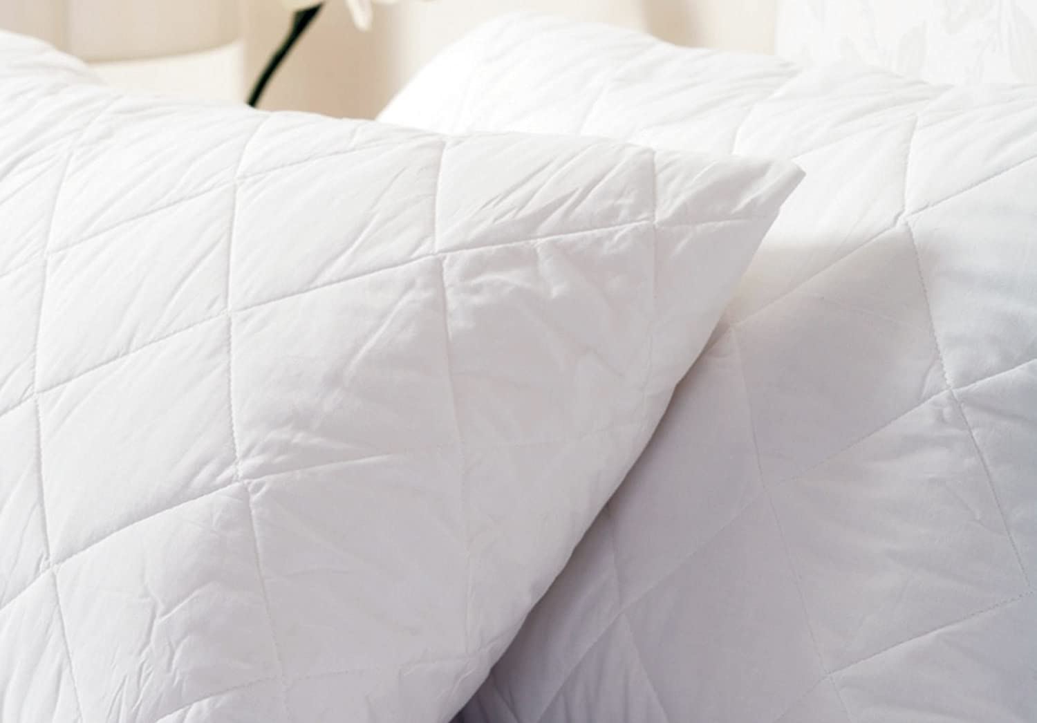 Belledorm Quilted Pillow Protector - Anti-Allergy Protection - 100% Cotton Percale Surface (Continental, White)