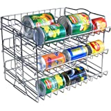 IZLIF 3 Tier Stackable Pantry Can Organizer Rack New Support Design Storage for 36 Cans , Chrome Finish