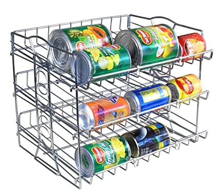 IZLIF 3 Tier Stackable Pantry Can Organizer Rack New Support Design Storage  For 36 Cans ,