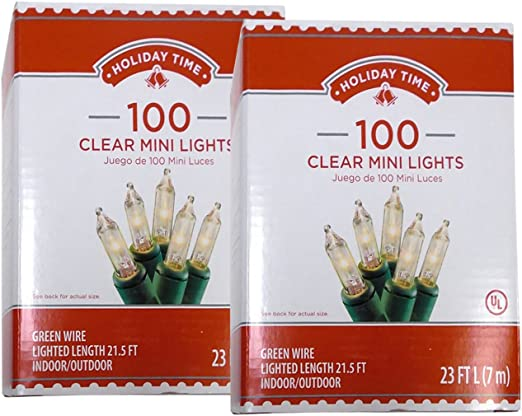 Holiday Time 100 Clear Mini Lights Christmas Wedding Green Wire Indoor Outdoor