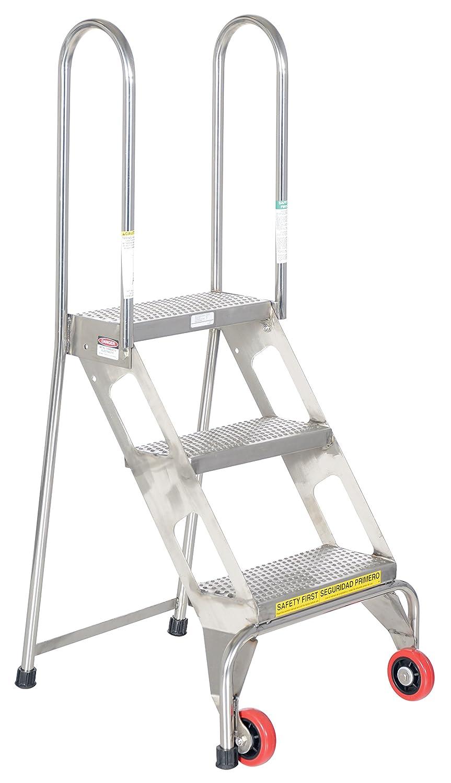 VESTIL flad-3-ss 3 paso escalera plegable con ruedas de acero inoxidable, color plateado: Amazon.es: Amazon.es