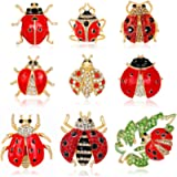 Set of 9 Lovely Little Ladybug Brooch Women's Crystal Rhinestone Brooch Pins Party Gift Jewelry Accessories
