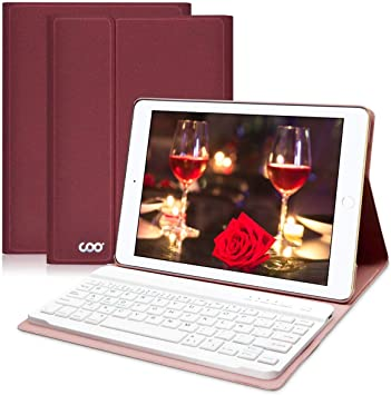COO Funda Teclado Bluetooth iPad 9,7, Cubierta Ultraliviano con Teclado Español Desmontable Inalámbrico para iPad 9,7 2017/iPad 2018/iPad Pro 9,7/iPad ...