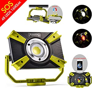 Rechargeable LED Work Light 30W 1600LM SOS Mode 2.1A Fast Charging Magnetic Base Waterproof Spotlights Outdoor Camping Emergency Floodlights For Truck Tractor Workshop Construction Site