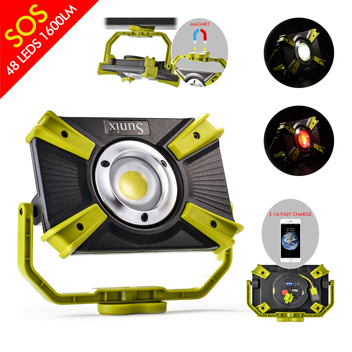 LED Work Light 48LEDS 1600LM 20W Rechargeable Portable with Magnet Clamp Stand Cordless Tac Light SOS Mode Spotlight Camping Emergency 2.1A Fast Charging for Truck Tractor Workshop Construction Site