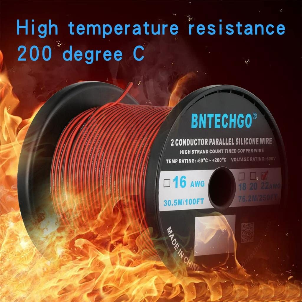 BNTECHGO 12 Gauge Flexible 2 Conductor Parallel Silicone Wire Spool Red Black High Resistant 200 deg C 600V for Single Color LED Strip Extension Cable Cord,model,25ft Stranded Copper Wire