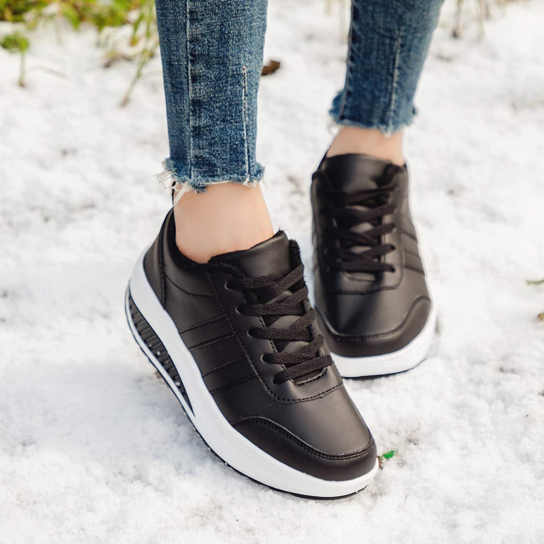 Baskets Mode Femme Chaussures de Multisports Outdoor Femme Chaussures de Running sur Route Hiver Chaussures de Sports Compens/ées