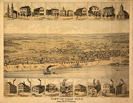 Tell City Indiana >> Amazon Com 1870 Map View Of Tell City Perry County