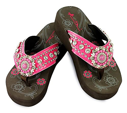 6a63f40c2 Image Unavailable. Image not available for. Color  Montana West Rhinestone  Wedge Flip Flops ...