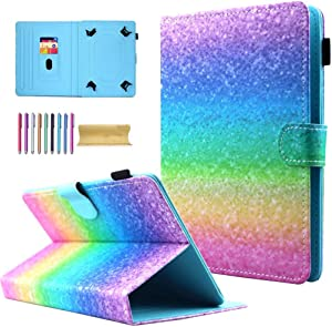 "Universal 7.0"" Tablet Case, AMOTIE Wallet Stand Cover w/Credit Card Slots for Samsung Galaxy Tab E 7.0/ Tab A 7.0/ Fire 7.0 2015 2017/ Lenovo/RCA and More 6.5-7.5 inch Tablet, Rainbow Sand"