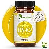 100% PFLANZLICH: Vitamin D3 + K2 + Omega 3   80 MINI Depot Kapsel   D3 aus Flechten   Deutsche PREMIUM Qualität   Hochdosiert 3000 i.e.   Vegan   Sonnenvitamin - K2 MK7 aus Natto - Omega 3 aus Leinsamen natürlich   Made in Germany